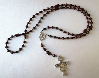 Franciscan Crown Rosary in Black and Brown Mahogany Obsidian with St Francis/ St Anthony Center and San Damiano Cross with Peace Prayer