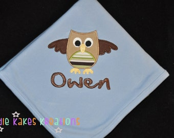 Personalized Cotton Baby Blanket Baby Blue / You Choose Design / Owl