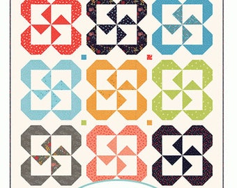 Pinwheel Posies - machine piecing quilt pattern - by Sherri McConnell of A Quilting Life Designs  #149