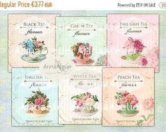 SALE - 40% OFF Time for Tea Labels - Custom Labels - Digital Collage Sheet -  printable - download - Digital Shabby chic - Scrapbooking