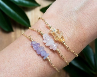 Rustic Gemstone Bar Bracelet - Beaded Bar Bracelet - Bead Bar Bracelet - Dainty Gemstone Bracelet - Birthstone Bracelet - Tiny Gemstone