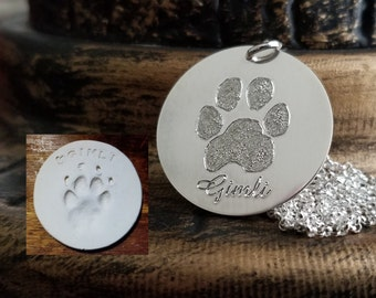 Paw Print Necklace Nose Print Personalized Pendant FEEL IMPRESSION Engraved into .925 Sterling Silver Memorial Actual Pet Dog Cat Charm