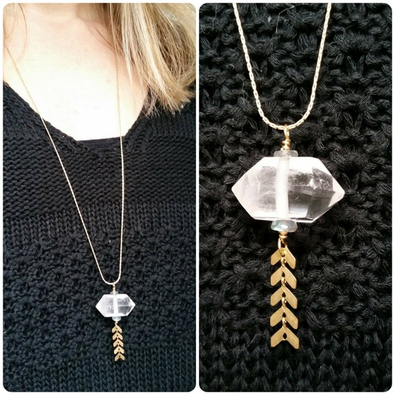 Double terminated quartz crystal necklace