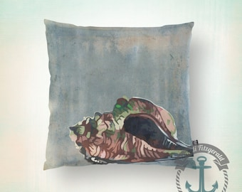 Throw Pillow | Beach House Nautilus | Seashell Coastal Shabby Chic  | Size and Price via Dropdown
