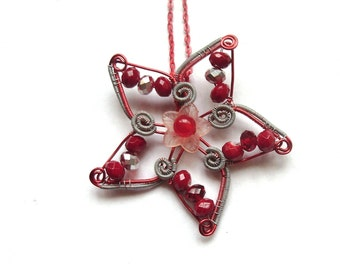 Flower Pendant, Wire Wrapped Red And Silver Flower Necklace, Wire And Glass Beads Handmade Jewelry, Unique Gift Idea For Her,