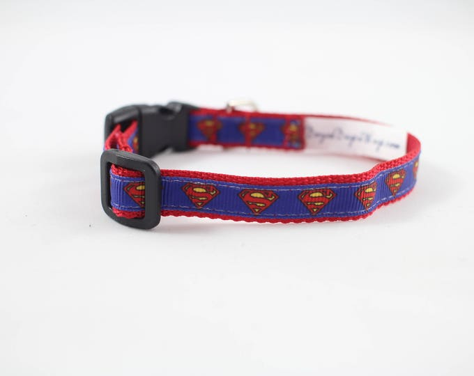 Superman dog collar,  super hero collar, DC comics dog collar, mini dog collar, small collar, pet gifts, dog gear, pet accessories