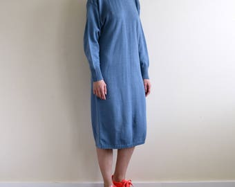 smokey blue acrylic knit midi dress / mock neck dress / knit sack dress / small