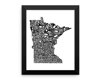 Minnesota typography map art FRAMED print customizable personalized custom state poster wall decor engagement wedding housewarming gift