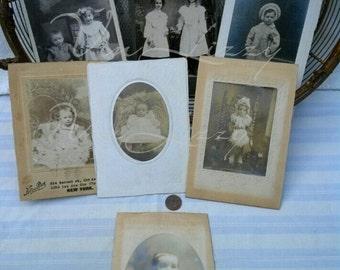Antique Photos, Children, Seven Original Photograph Edwardian Siblings Infant, CDV Black White, New York City, Worn, Props ~~FREE SHIPPING~~