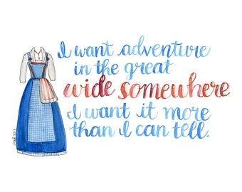 Beauty and the Beast, Belle Little Town, Belle Costume Watercolor Print, Beauty and the Beast Quote Art
