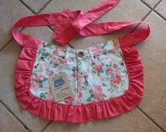 Denim Print Girls Apron (Repurposed Jeans)