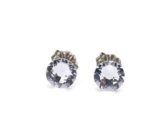 Titanium Studs Earrings Smoky Mauve Swarovski Crystals on Titanium Posts Earrings for Sensitive Ears, Titanium Jewelry, Pale Purple Posts