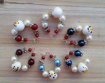 Snowman Glass Bead Holiday Christmas Wine Charm Set of 6 - Winter Home and Party Decorations