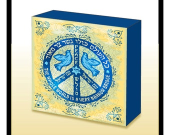 Hebrew /English Jewish Peace Symbol Wood Art Panel