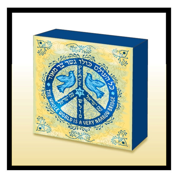 Hebrew English Jewish Peace Symbol Wood Art Panel