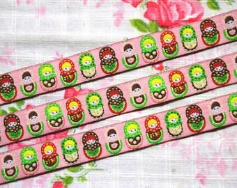 Russian Doll Ribbon 1m - Woved Ribbon - Matryoshka Ribbon - Craft Ribbon - Sewing Tape - Multicolor Ribbon - Colorful Ribbon - Fabric Ribbon