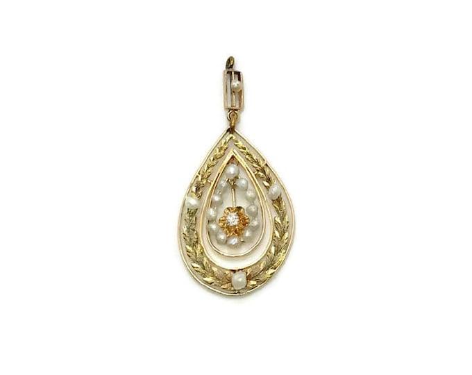 14 Karat Yellow and Green Gold Diamond and Pearl Pendant, Antique Pendant, Edwardian Pendant, Diamond and Pearl Pendant, Antique Jewelry