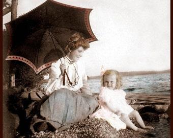 Little Girl Day at Beach with Grandma fine art photograph