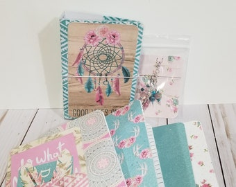 Pocket Size-Laminated-travelers notebook-diary-journal-boho-dream catcher-fauxdori-tn-tn inserts-accessories-floral-sketchbook