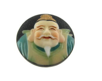 Toshikane EBISU Button/ 7 Fortune gods Arita Porcelain /Seven Lucky gods 七福神 Shichi Fukujin / Seven Immortal gods / Feng Shui  Abundance