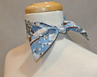 Sky Blue Ume Blossom Necktie,Cotton Necktie,Womens Necktie,Mini Scarf,Mini Skinny Scarf,Cotton Mini Skinny Scarf,Kerchief,Neckerchief,Choker