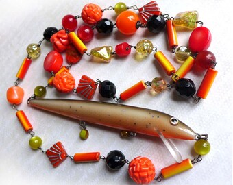 Orange Fishing Lure Necklace, Tropical Beach Summer Fish Necklace, Vacation Seashore Statement Fish Necklace
