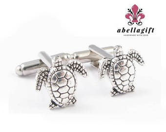 Antiqued Silver Turtle Cufflinks, Handmade cuff links, Men Cuff links Gift, Animal cufflinks