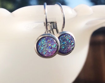 Purple Iridescent Druzy Dangle Earrings, Dainty  Lavender Faux Druzys Set in Silver Tone Lever Back Settings, Sparkly Drop Earrings