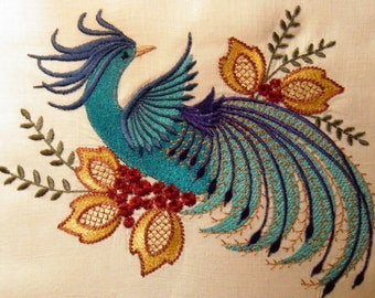 Beautiful Peacock bold colours on white linen