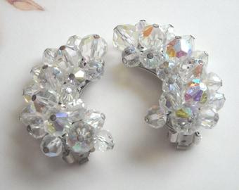 Vintage Large Aurora Borealis Crystal Glass Bead Clip Earrings Gorgeous Sparkle