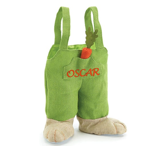 Personalized easter bunny pants easter basket tote basket or like this item negle Choice Image