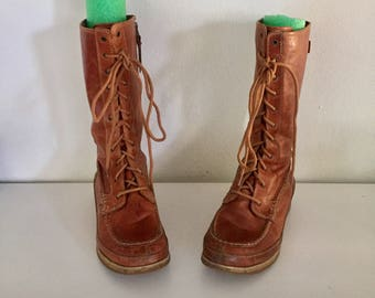 Lace Up Boots Leather Ankle Boots Round Moc Toe Women's Size 8.5 M