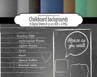 Chalkboard Digital paper and cliparts, digital chalkboard and chalk clip art,  chalkboard backgrounds - INSTANT DOWNLOAD Pack 410