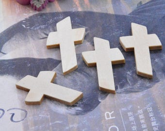 50 crosses, small wooden crosses, wooden cross, unfinished wood cross drops, wooden cross pendant, cutted natural wood cross charms 22x36mm