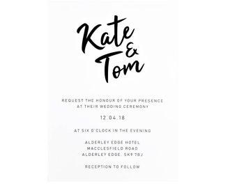 Modern Bespoke Wedding Invitation & Envelope