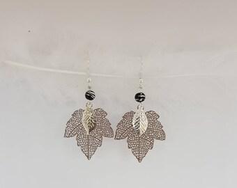 Silver and Mocha maple leaf earrings
