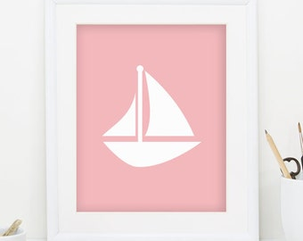 Sail Boat Print Sailboat Print Nautical Nursery Decor Nautical Print Sailboat Art Pink Wall Art Sailboat Decor Sail Boat Decor 0089