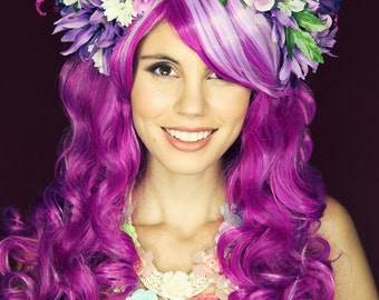 Cheshire Cat/ Cheshire Cat Wig/ Disney Bound/ Disney Wig/ Flower Crown/ Alice in Wonderland Wig/ Cosplay Wig/Cheshire Cat Cosplay/Purple WIg