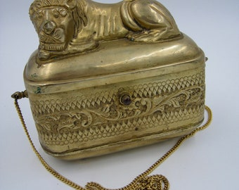 Brass Figural Sleeping Lion Purse, Shoulder bag, Repousse, Unique and Vintage