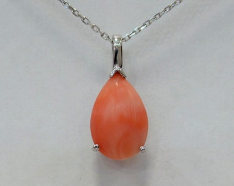Coral Necklace Sterling Silver/ Sterling Silver Natural Coral Necklace/ Natural Coral Necklace Sterling Silver
