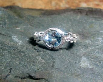 Aquamarine Diamond Gemstone 14K White Gold, Size 7, MARCH Birthstone