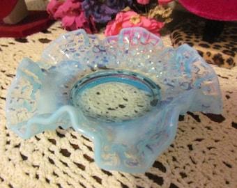 Blue Opalescent Fenton Bon Bon Dish Ruffled Crimped Edge Fenton Art Glass