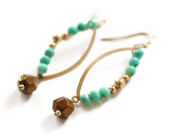 Turquoise Marquise Shaped Earrings Statement Earring Gold Filled For Her Gift Idea Celebrity Style Jewelry Worn On TV Seen On Mom