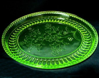 Vintage vaseline glass platter-old adams wildflower-rare  antique glassware  platter-eapg  canary yellow  oval tray