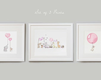 Rose Pink Set, UNFRAMED Nursery Art Prints, Baby Girl, Pale Pink, Bedroom Art, Children's illustration, Pictures for Girl's room, Wall decor