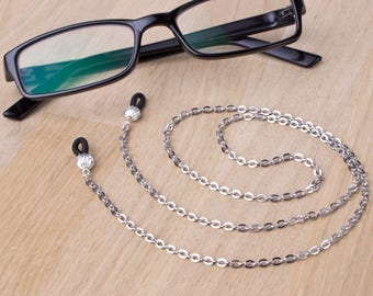 Simple glasses chain - Plain silver eyeglasses chain | Everyday eyewear neck cord | Readers gift | Sunglasses lanyard | Eyeglasses holder