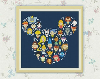 50% OFF SALE,Disney Cross Stitch Pattern, Disney Mickey cross stitch pattern Chart ,Needlecraft Needlework PDF Instant Download,S095
