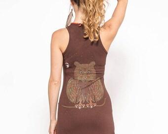 Brown Owl Dress, Festival Dress, Yoga Dress, Cotton Dress, Tank Dress, Psy Trance Clothing, Psychedelic Dress, Psy Dress, Owl Gift For Women