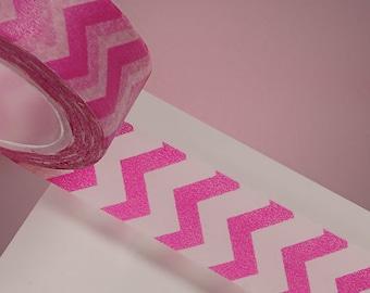 """9/16"""" Pink and White Zig Zag Washi Tape - 10 Yards"""