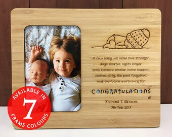 New Baby Handmade Picture Frame Gift | Personalized, Laser Cut and Engraved on Bamboo Wood | Newborn, Baby Shower, New Parents Unique Gift